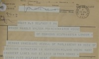 Image of Telegram from Gerry Fitt, MP, to Harold Wilson, PM, 15 August 1969