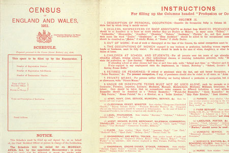 Census 1911 (Red Schedule front), cat. ref. RG 27/8