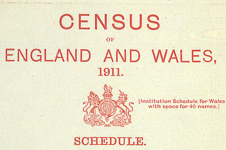 1911 census schedule front, cat. ref. RG27/8