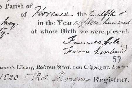 Florence Nightingale's birth ceritifcate, 1820 cat. ref. RG5/83(4058)