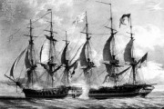 Photograph:Battle between the frigates HMS Shannon and USS Chesapeake off Boston during the War of 1812; detail of a lithograph by J.C. Schetky.