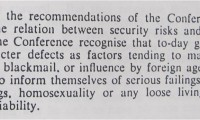 Image of Extract from the statement of findings from a 1956 security conference of Privy Counsellors