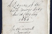 Hearth tax return, including Thomas Farrinor of Pudding Lane (Great Fire of London) 1666., cat. ref. E179-252-32-4
