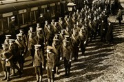 Troops travelling to Manchester for review by Lord Kitchener