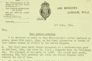 Air Ministry letter concerning West Indian recruits (catalogue reference AIR 2/8278)
