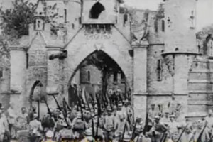 French Troops marching in Verdun, France, 1916.