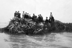 Sailors with wreck of Zeppelin L15, shot down April 1916. Catalogue reference: AIR1-645-17-122-325