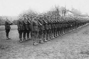 A company of Cadet Officers on parade at No. 1 RGA Officer Cadet School at Trowbridge, November 1917 © IWM (Q 54250)