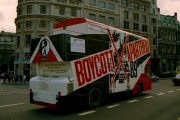 A photograph of a 'Boycott Apartheid' bus