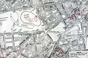 Map noting the locations of urinals in London where arrests were made during 1953
