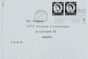 The envelope of an intercepted letter sent to Guy Burgess by Harold Nicolson (catalogue reference: KV 2/4364)