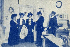 Photograph of suffragettes, printed on the cover of a Suffragette pamphlet, 1908. Catalogue reference: PRO30-69-1834